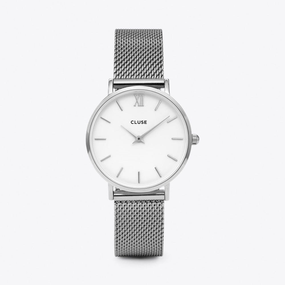 Minuit Mesh Watch in White & Silver