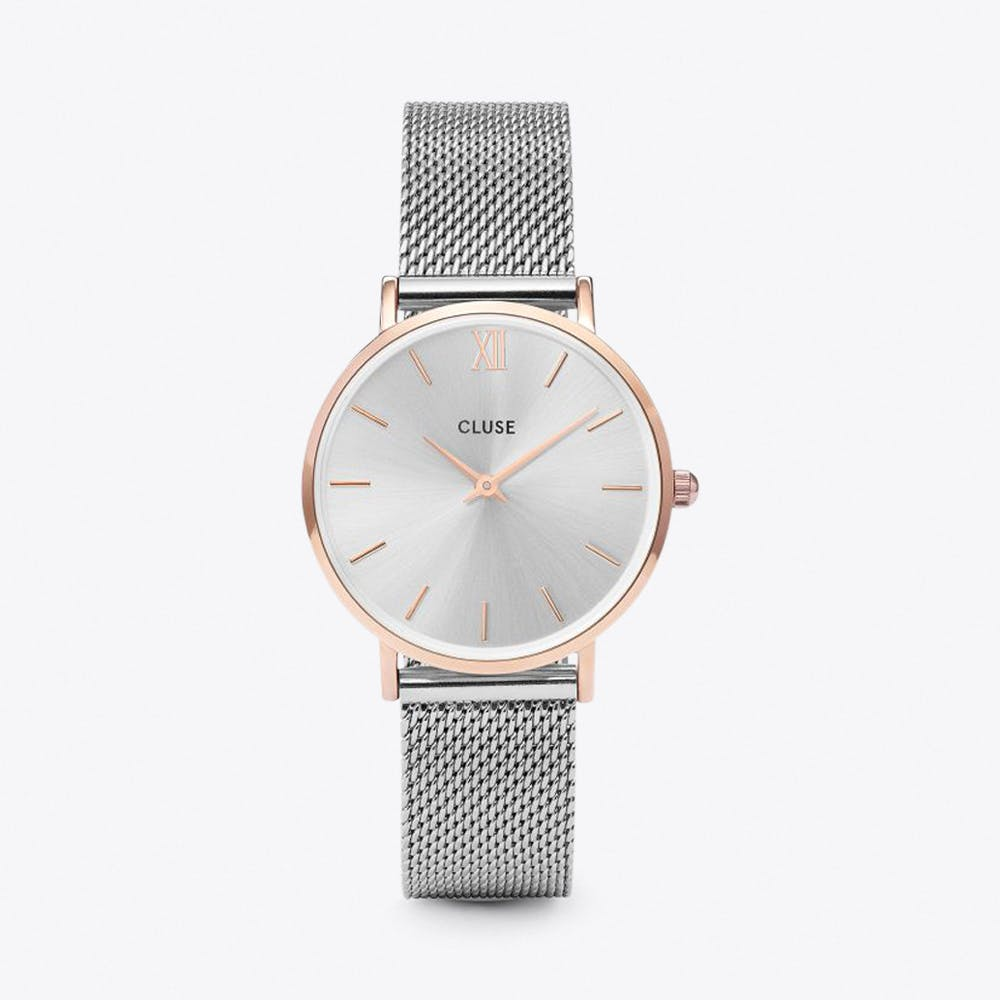 Minuit Mesh Watch in Rose Gold & Silver