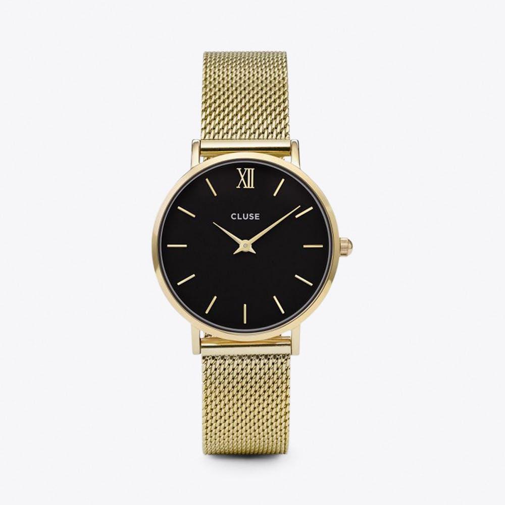 Minuit Mesh Watch in Black & Gold