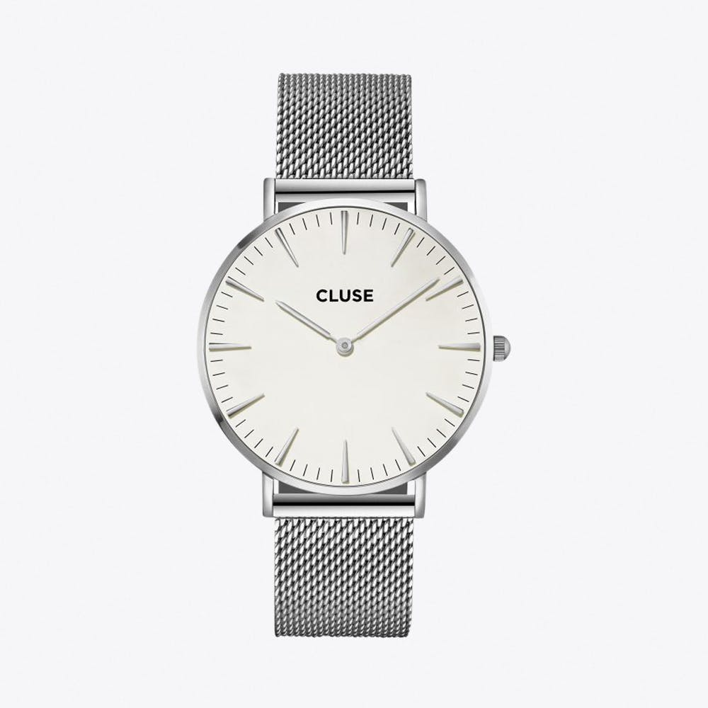 La Bohème Mesh Watch in Silver & White