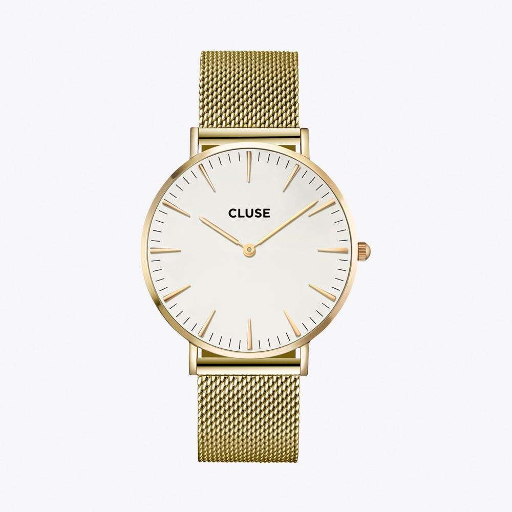 La Bohème Mesh Watch in Gold & White