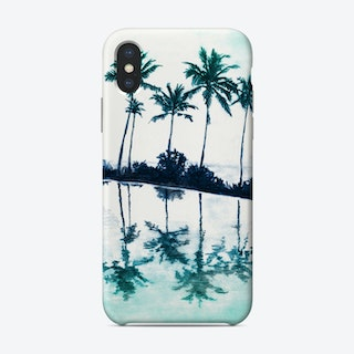 Palm Tree Reflections Teal Phone Case