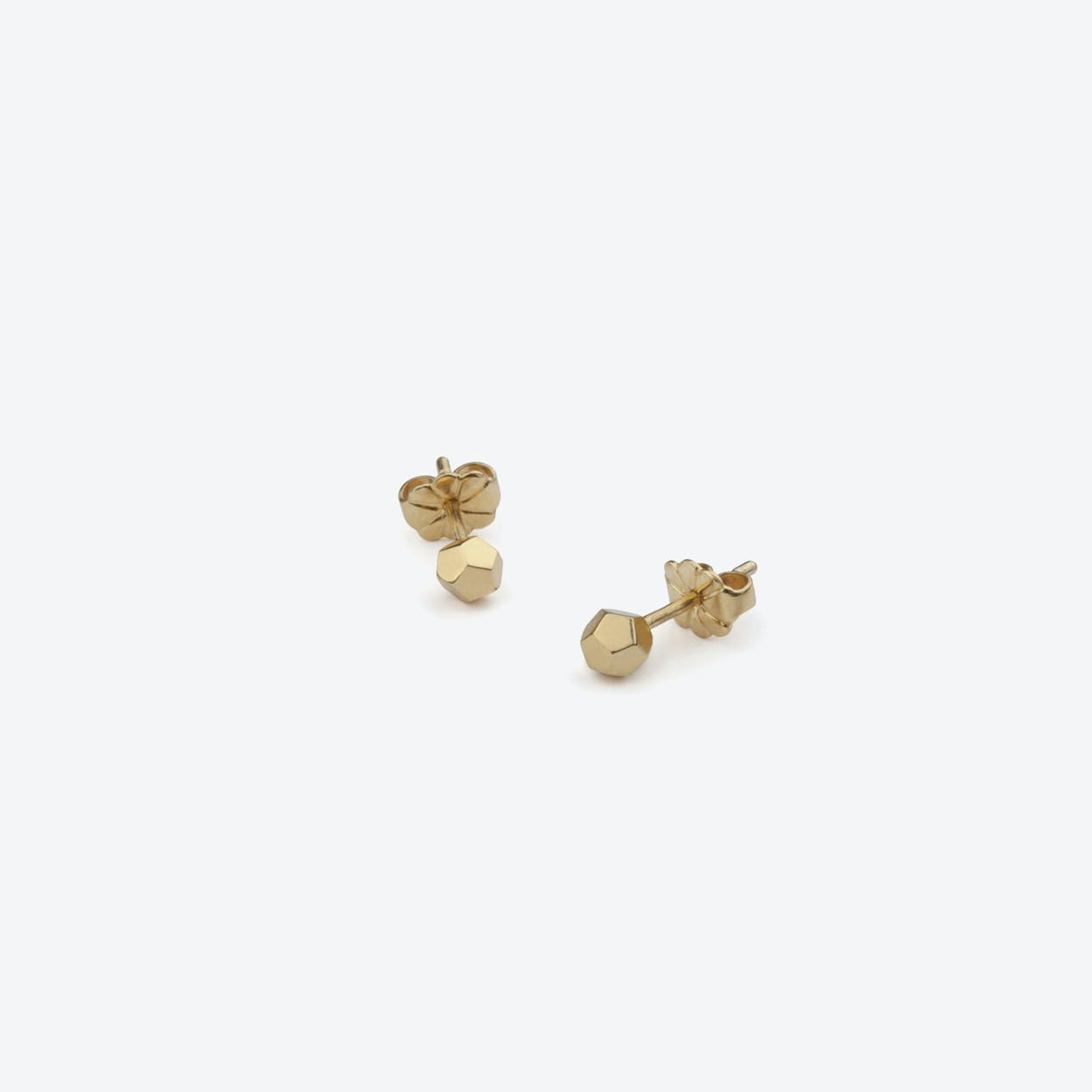 Dodecahedron Stud Earrings in Gold