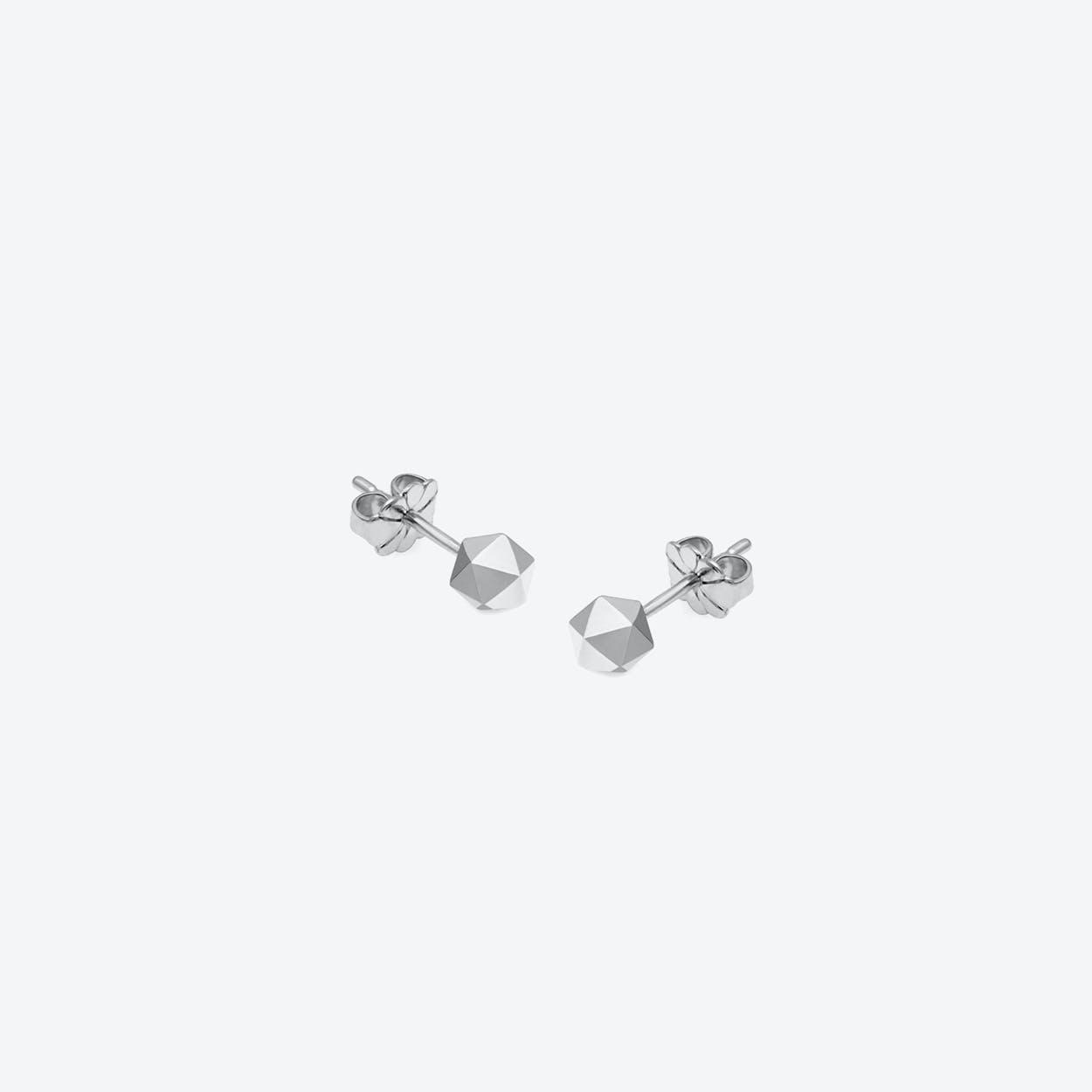 Icosahedron Stud Earrings in Silver