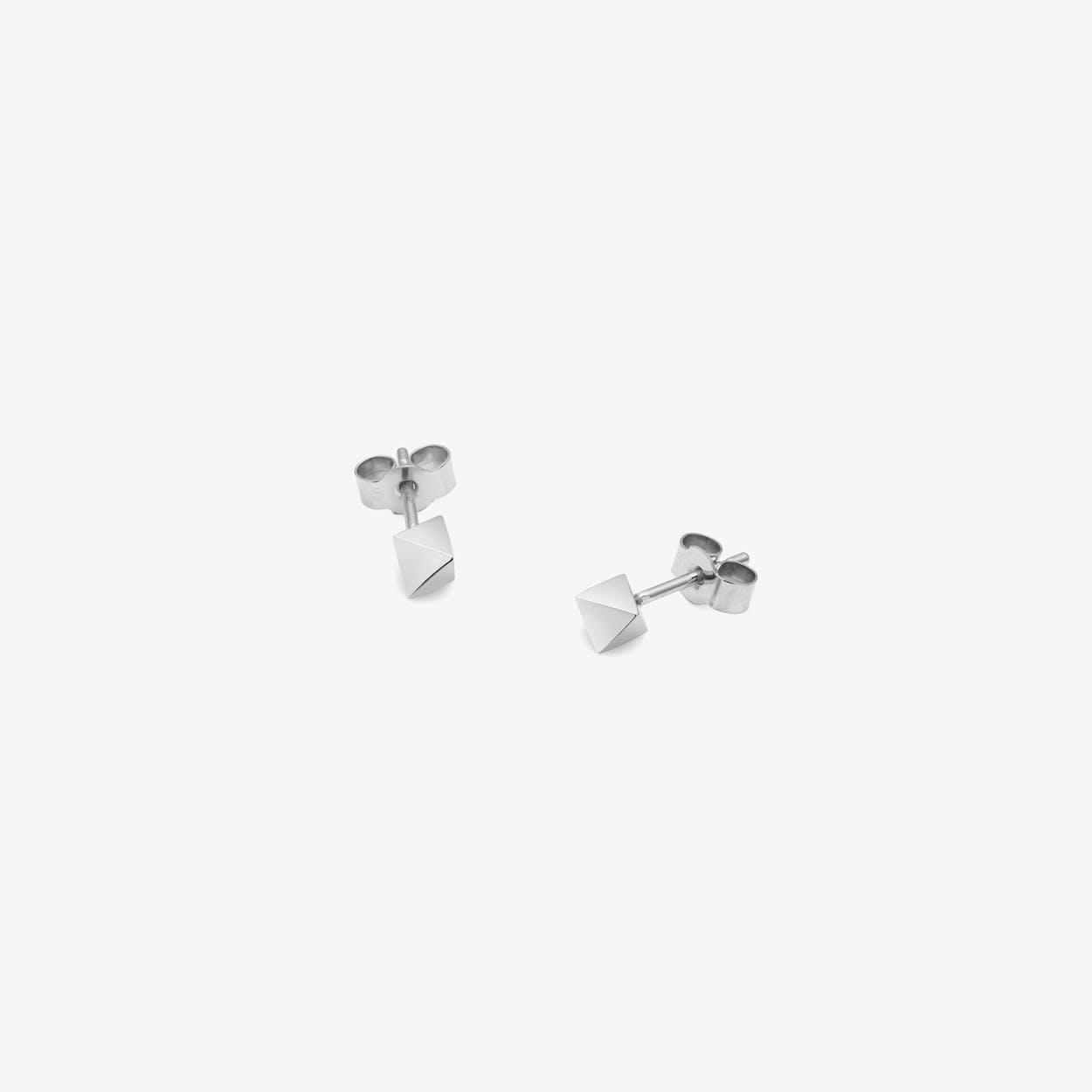 Octahedron Stud Earrings in Silver