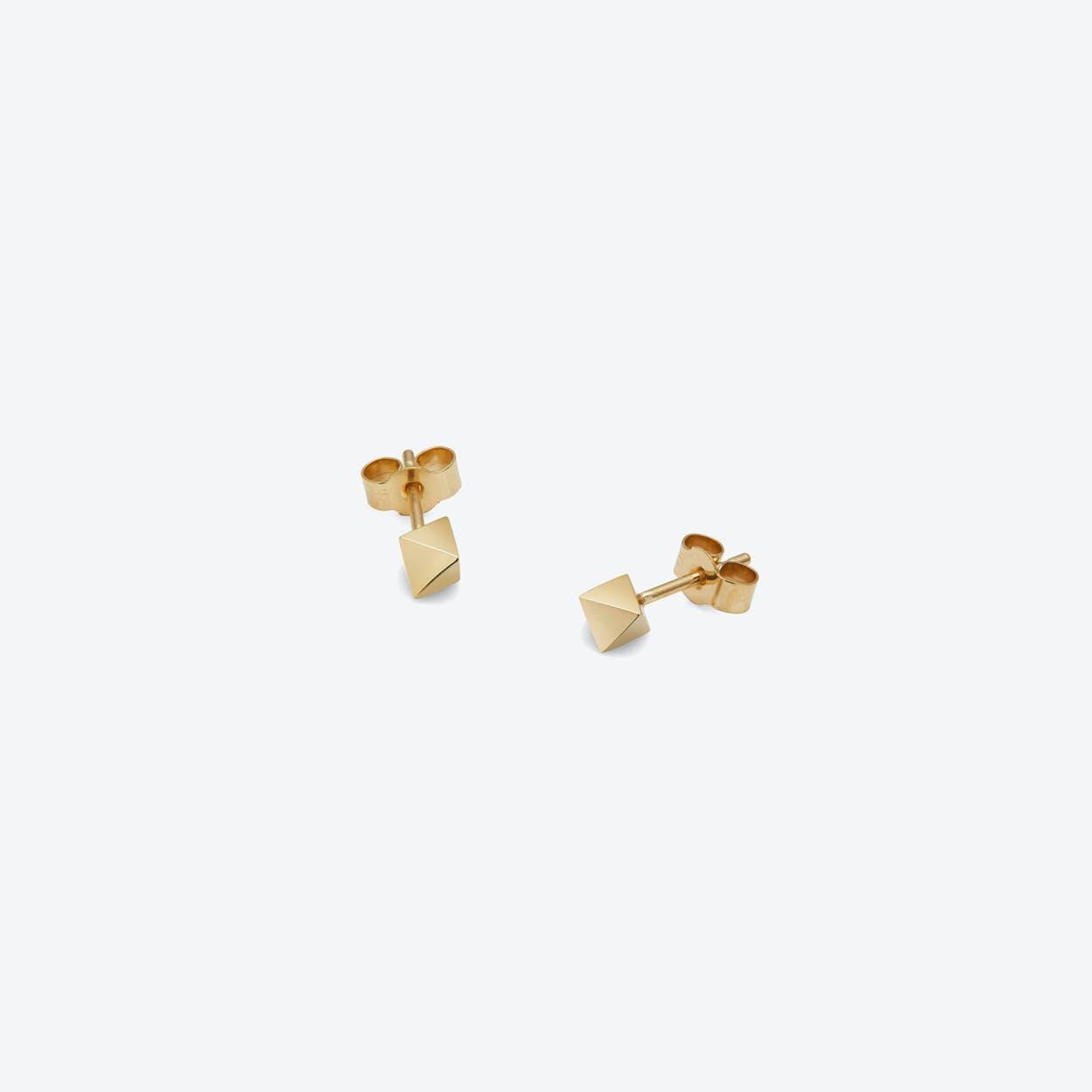 Octahedron Stud Earrings in Gold