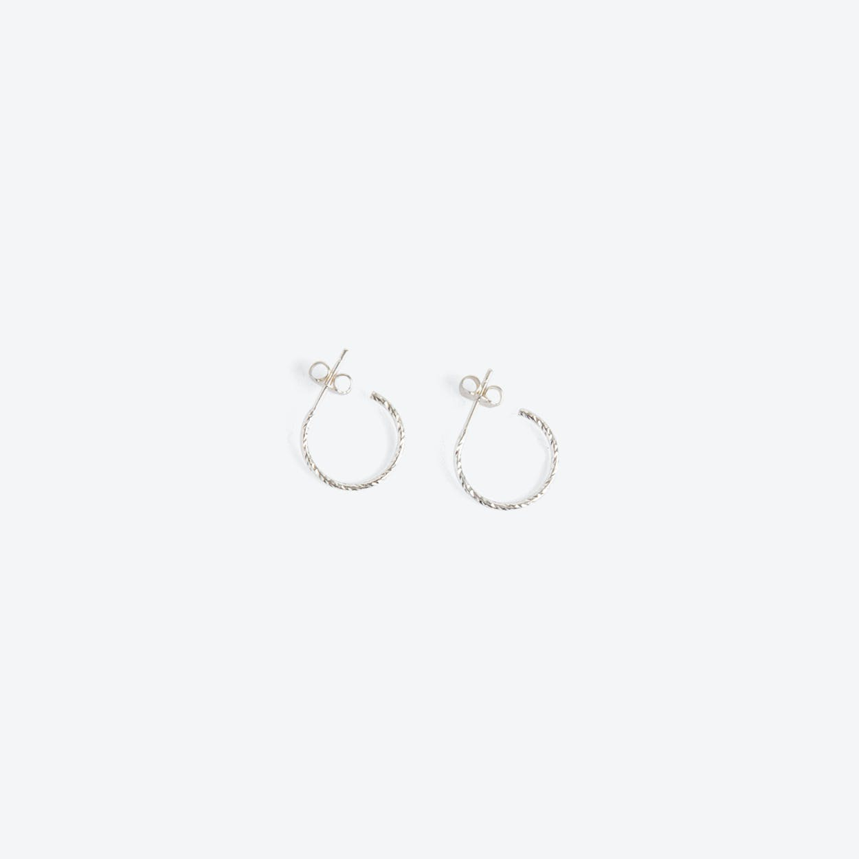 Mini Diamond Hoop Earrings in Silver