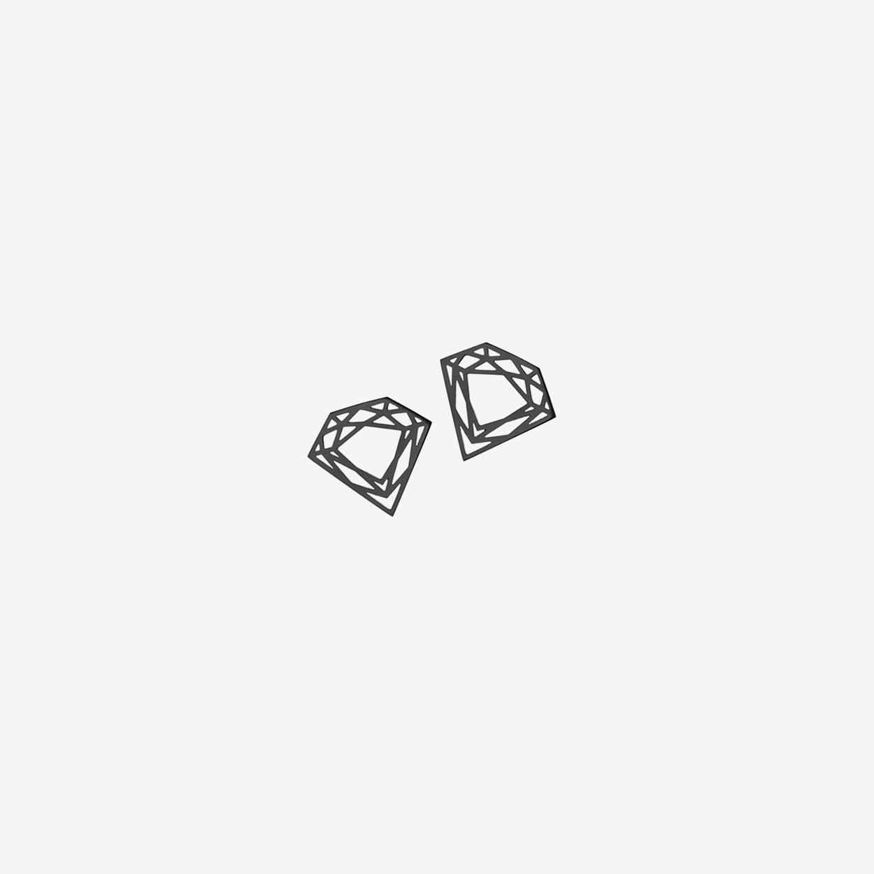 Classic Diamond Stud Earrings in Black