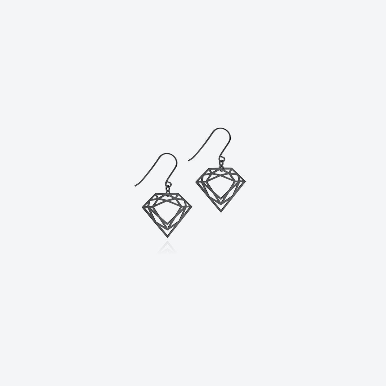 Classic Diamond Drop Earrings in Black