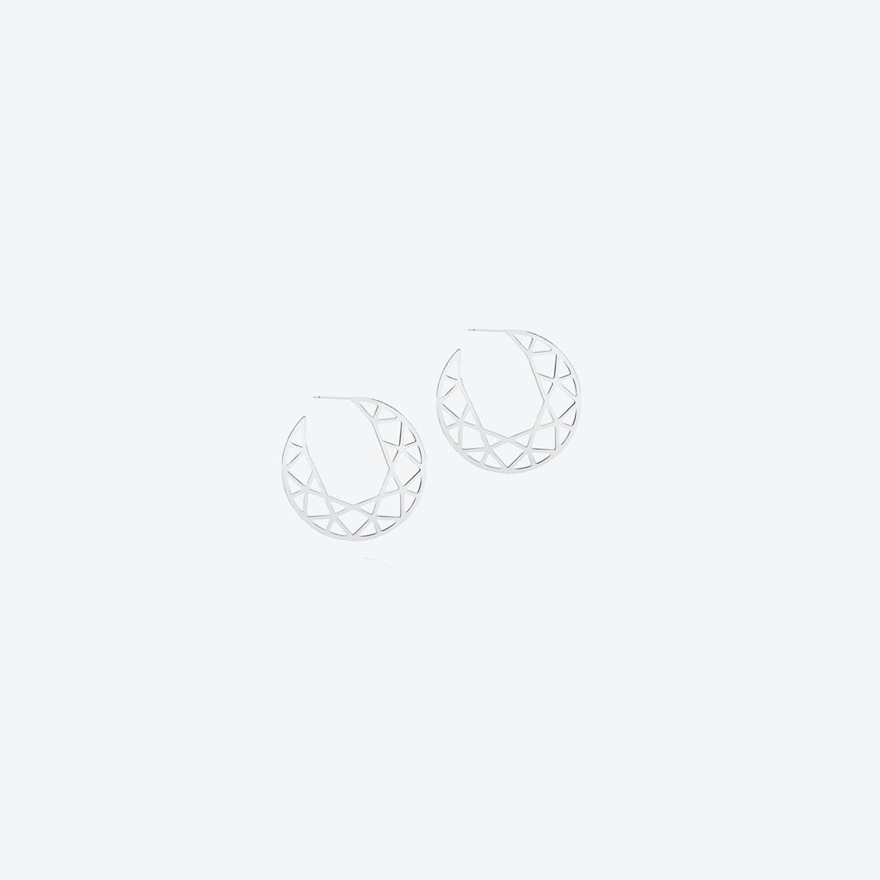 Large Brilliant Diamond Hoop Earrings in Silver