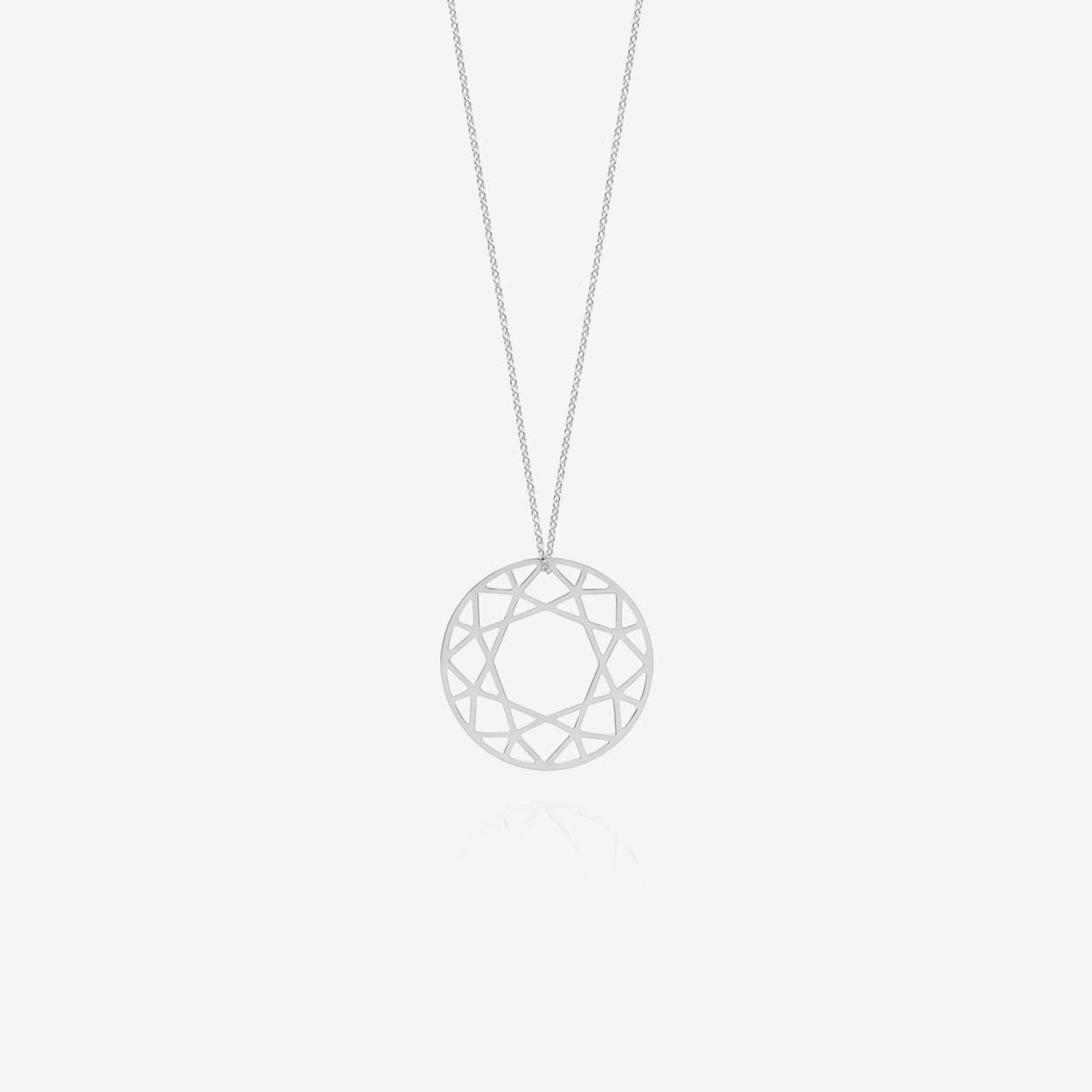 Large Brilliant Diamond Necklace in Silver