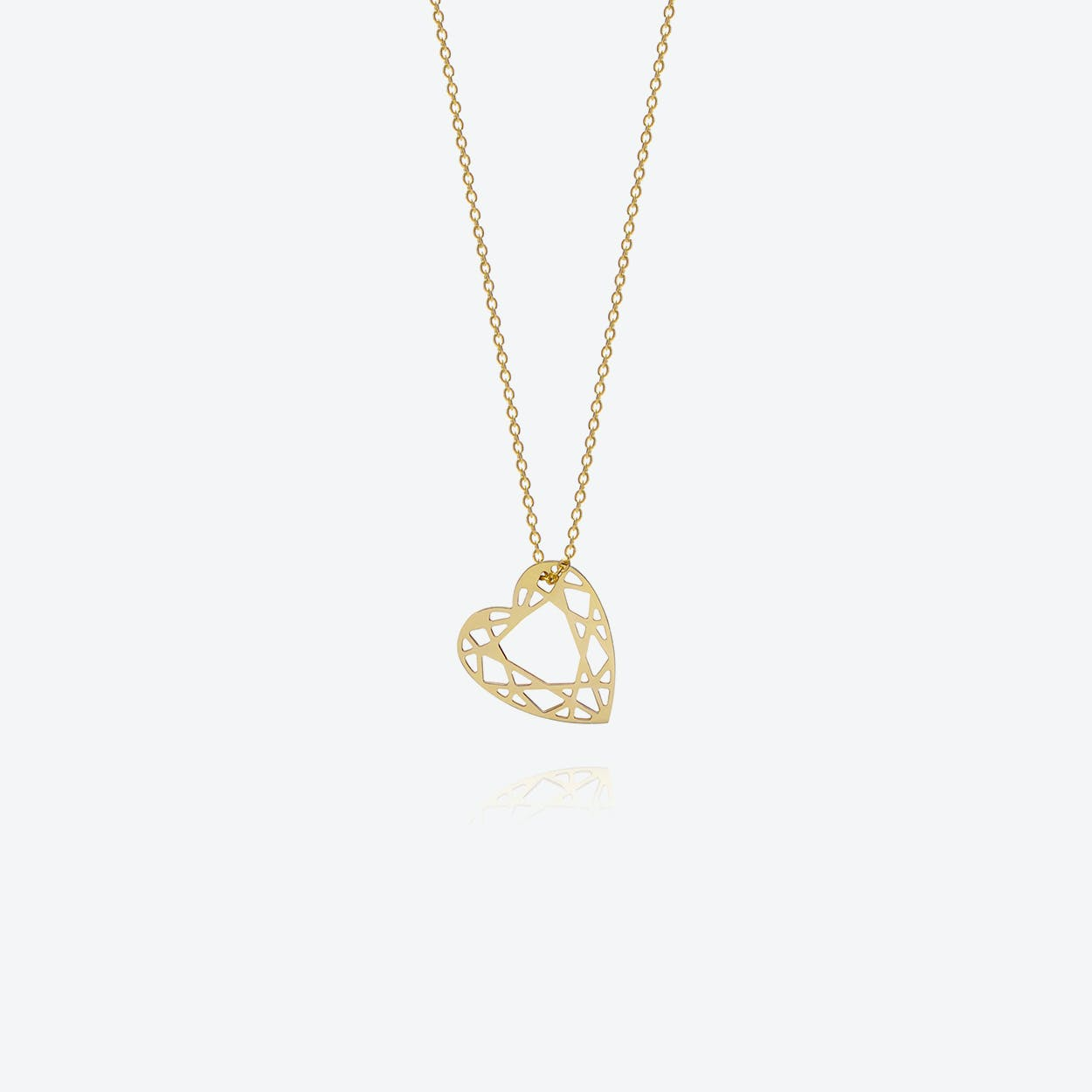 Small Heart Diamond Necklace in Gold