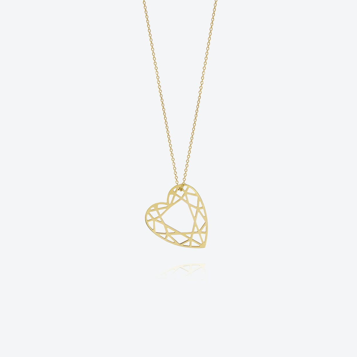 Medium Heart Diamond Necklace in Gold