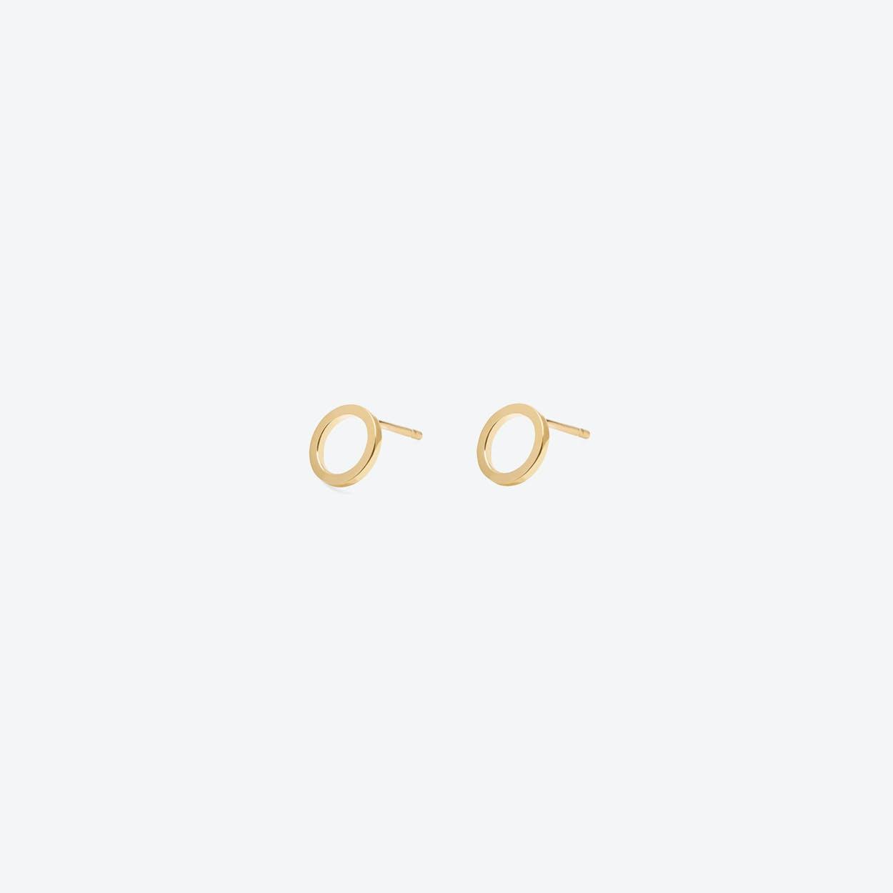 Mini Circle Square Earrings Gold Plated
