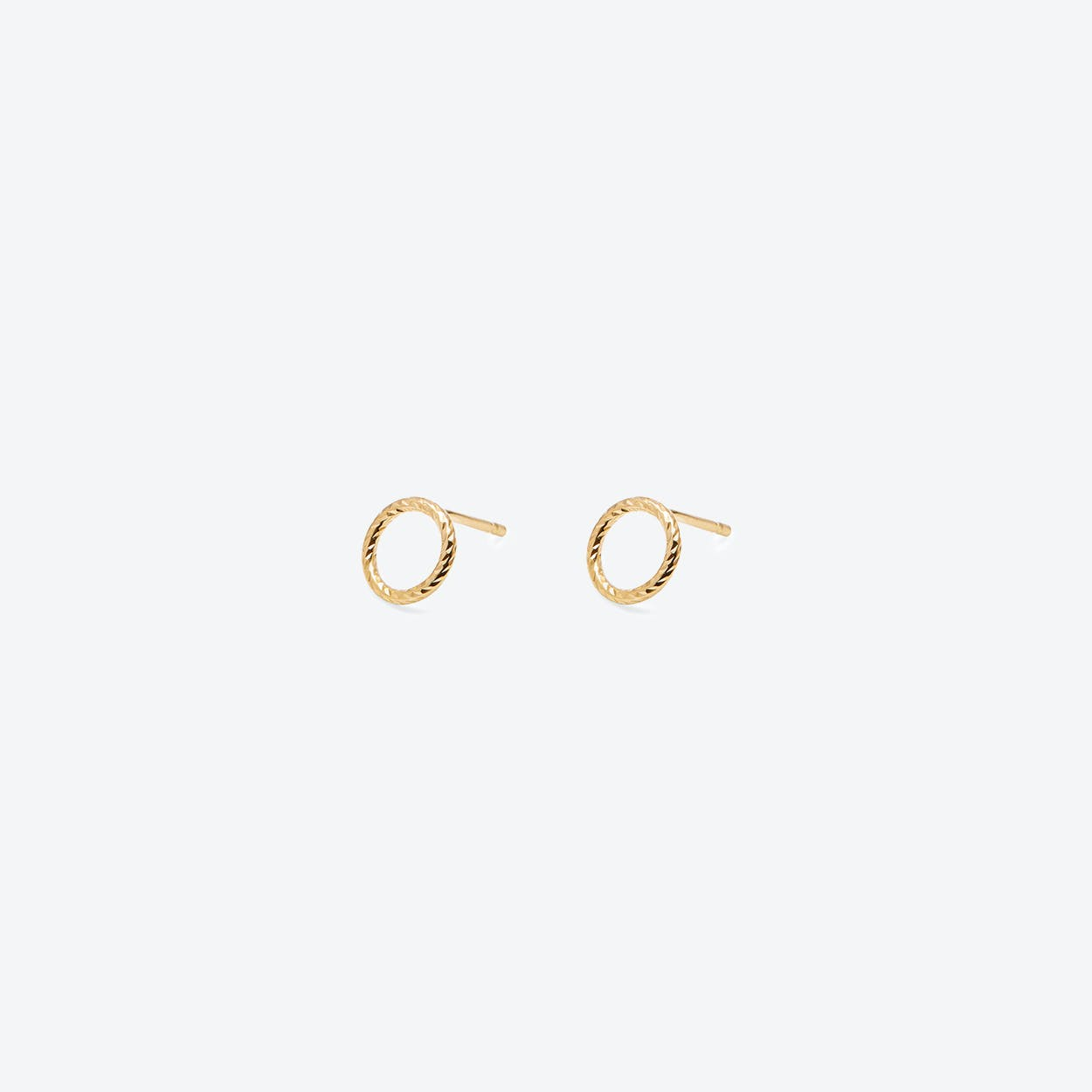 Mini Circle Diamond Stud Earrings Gold Plated