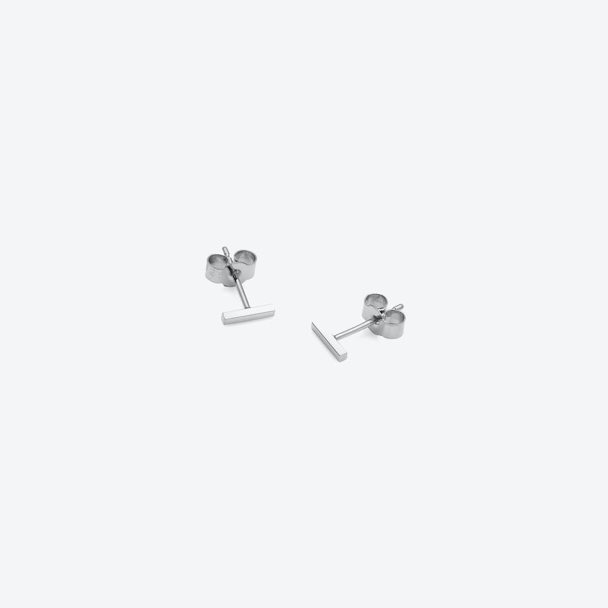 Mini Square Bar Stud Earrings in Silver