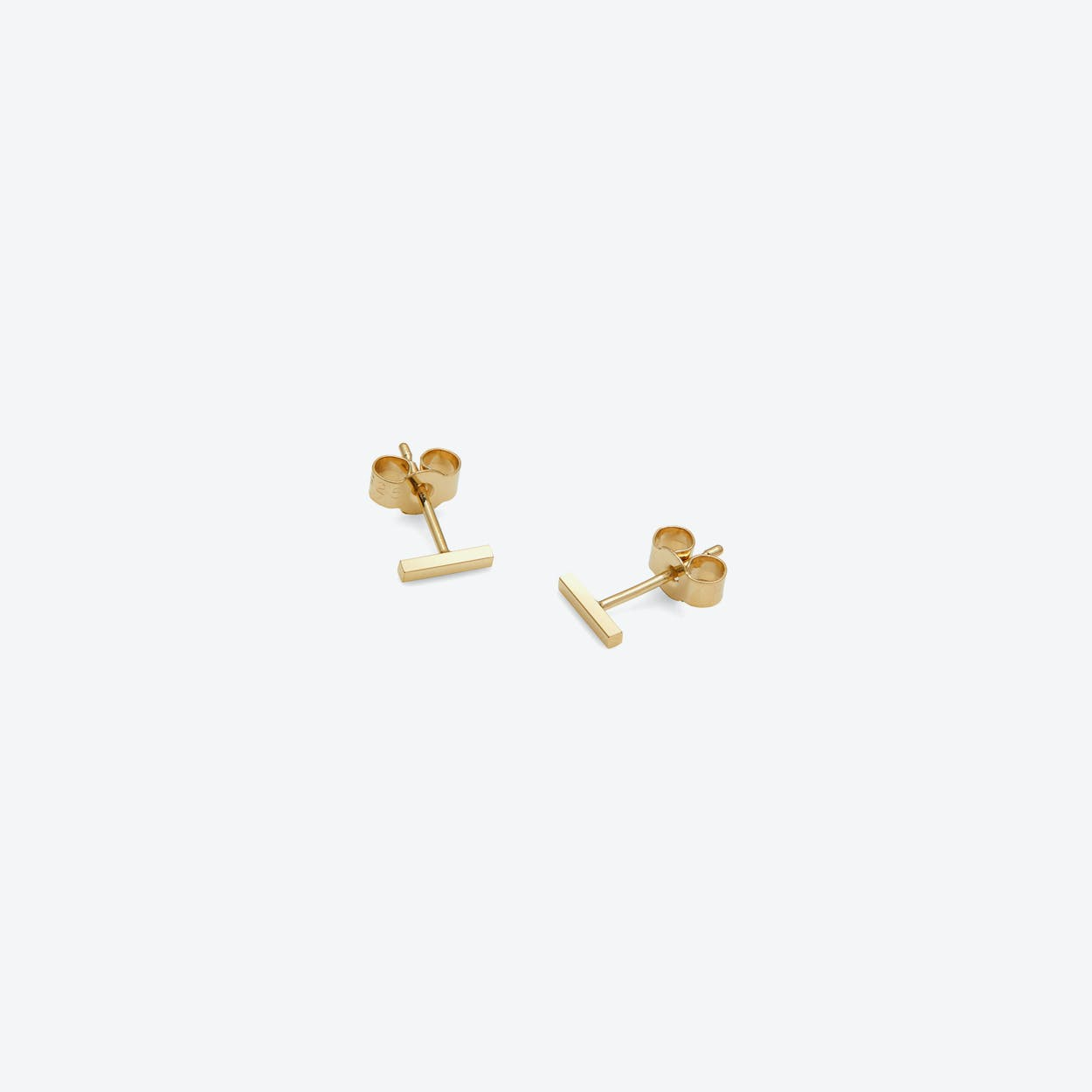 Mini Square Bar Stud Earrings in Gold
