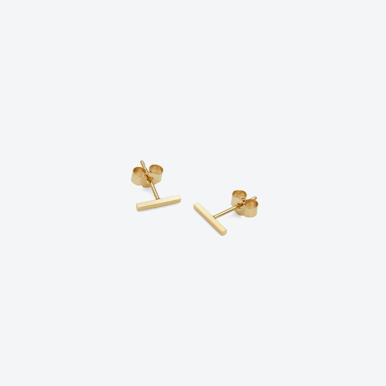 Bar Stud Earrings In Gold