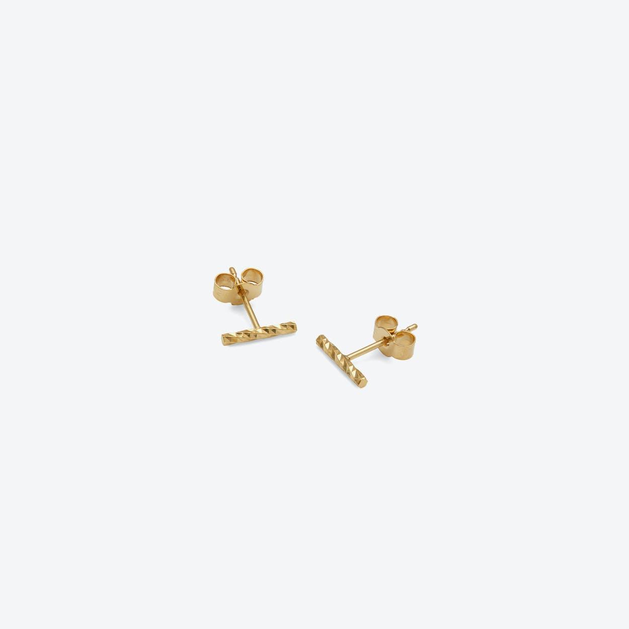 Diamond Bar Stud Earrings In Gold