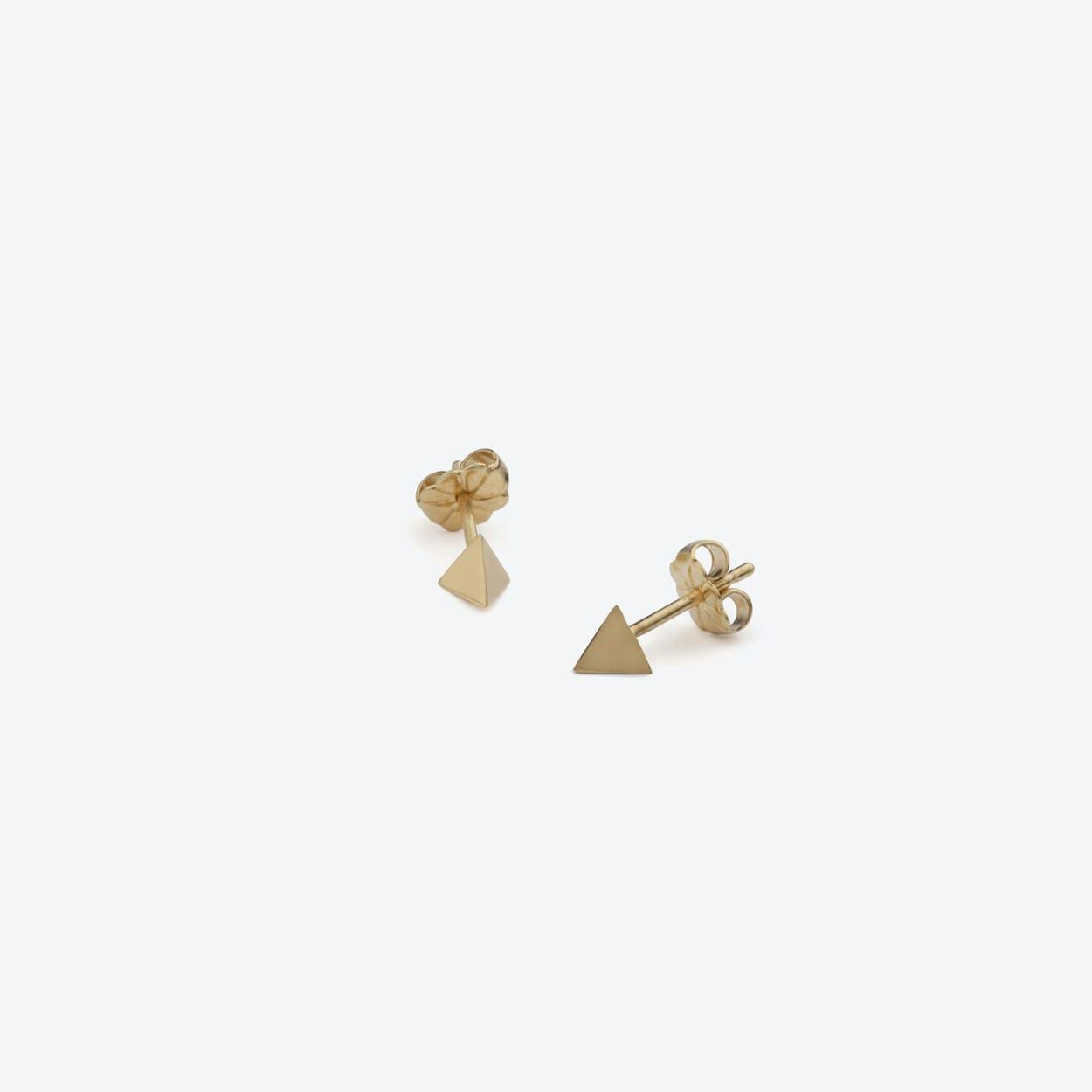 Tetrahedron Stud Earrings in Gold