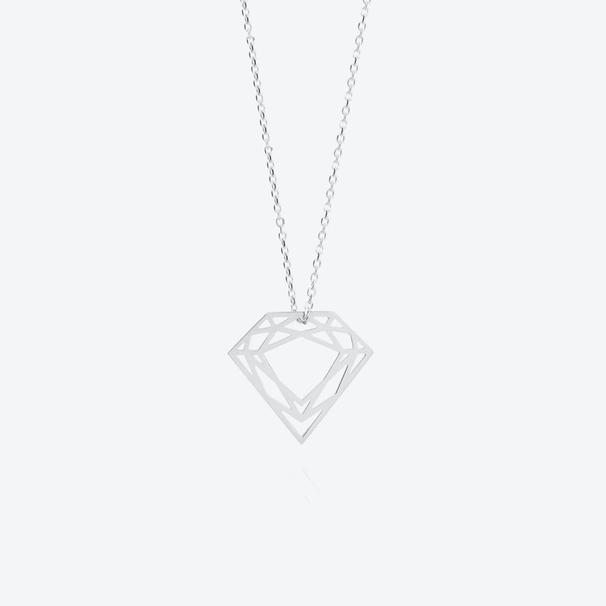 Classic Diamond Necklace in Silver