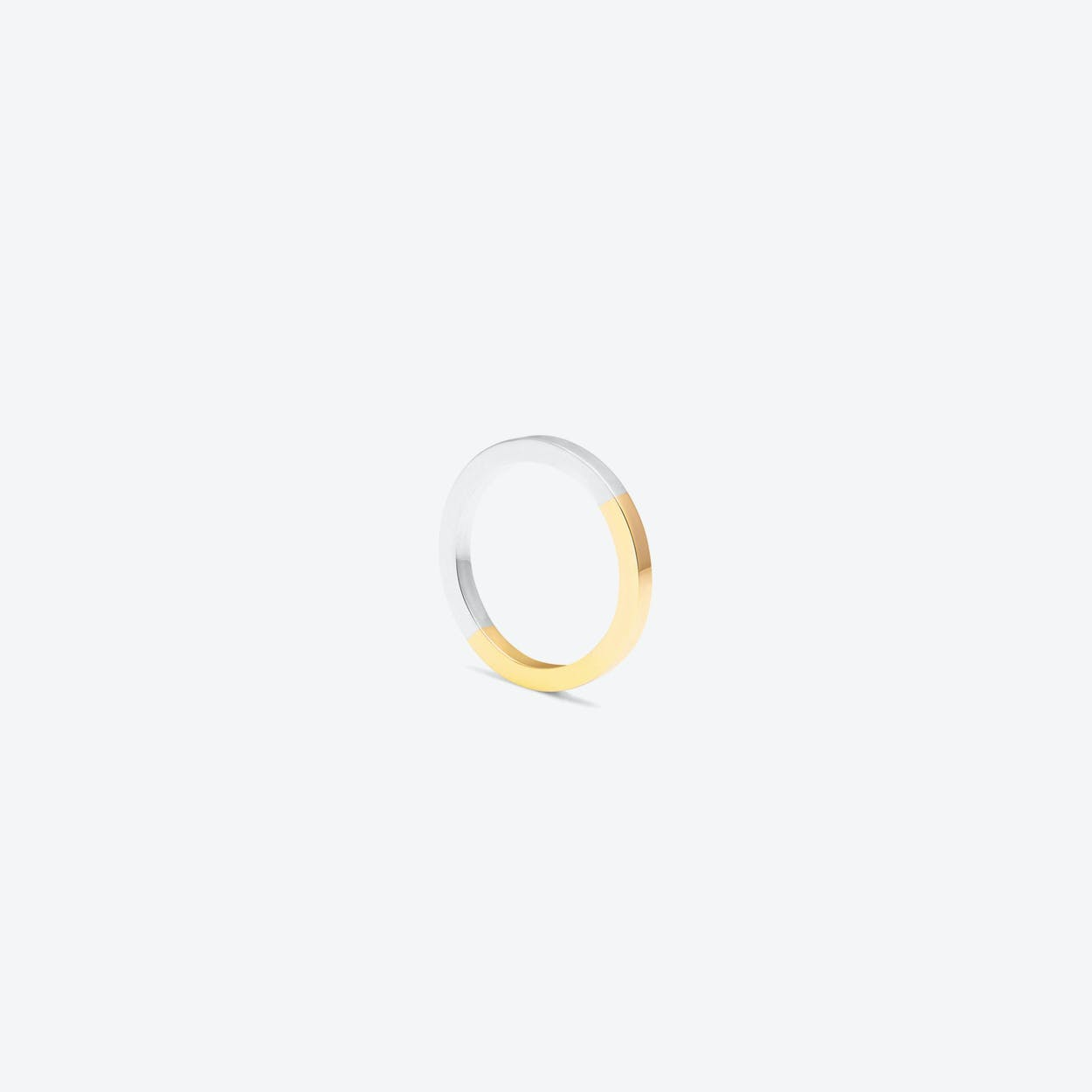 Two-Tone Square Band in Yellow Gold