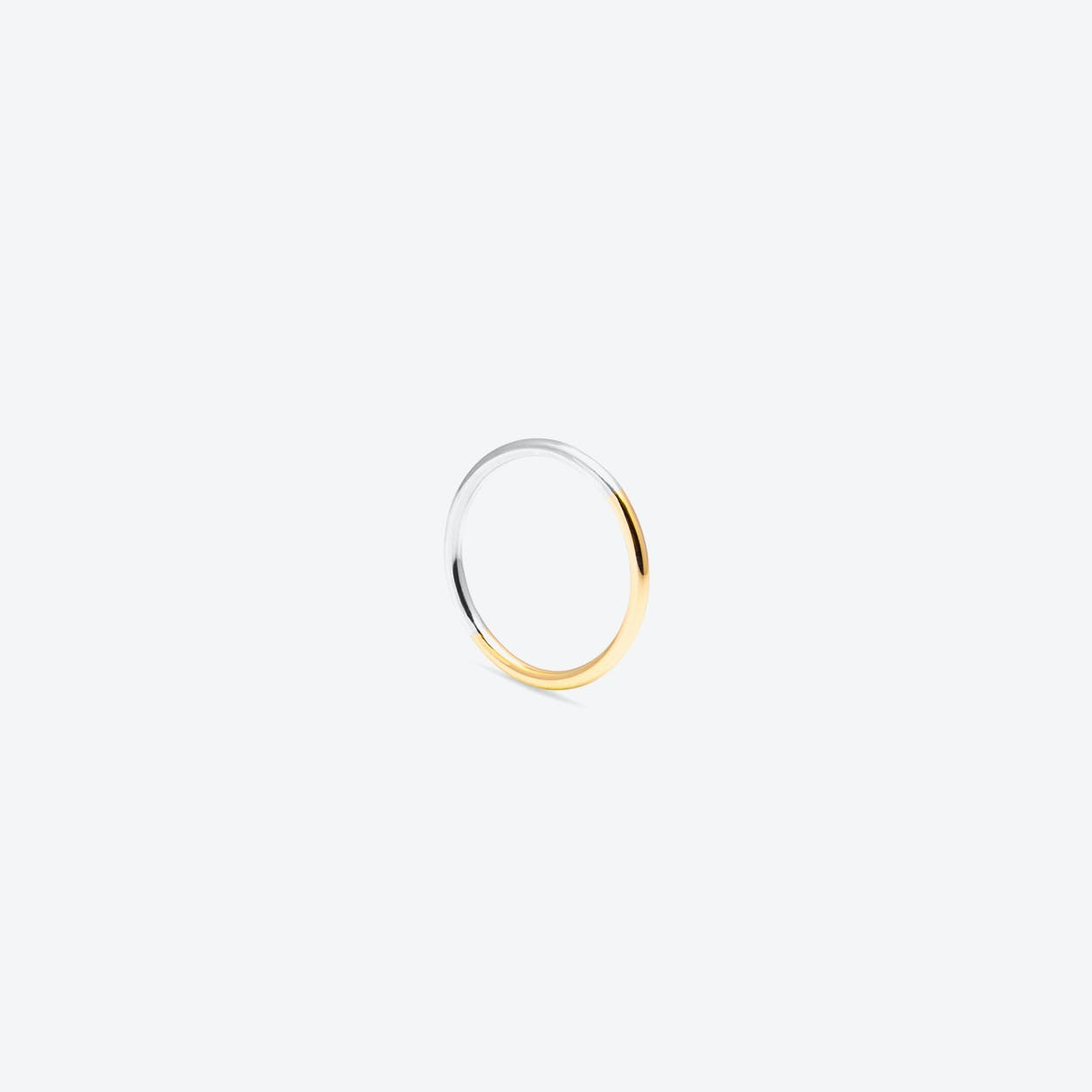 Two-Tone Round Stacking Ring in Yellow Gold