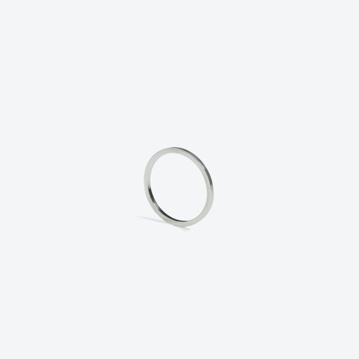 Square Skinny Ring in Silver