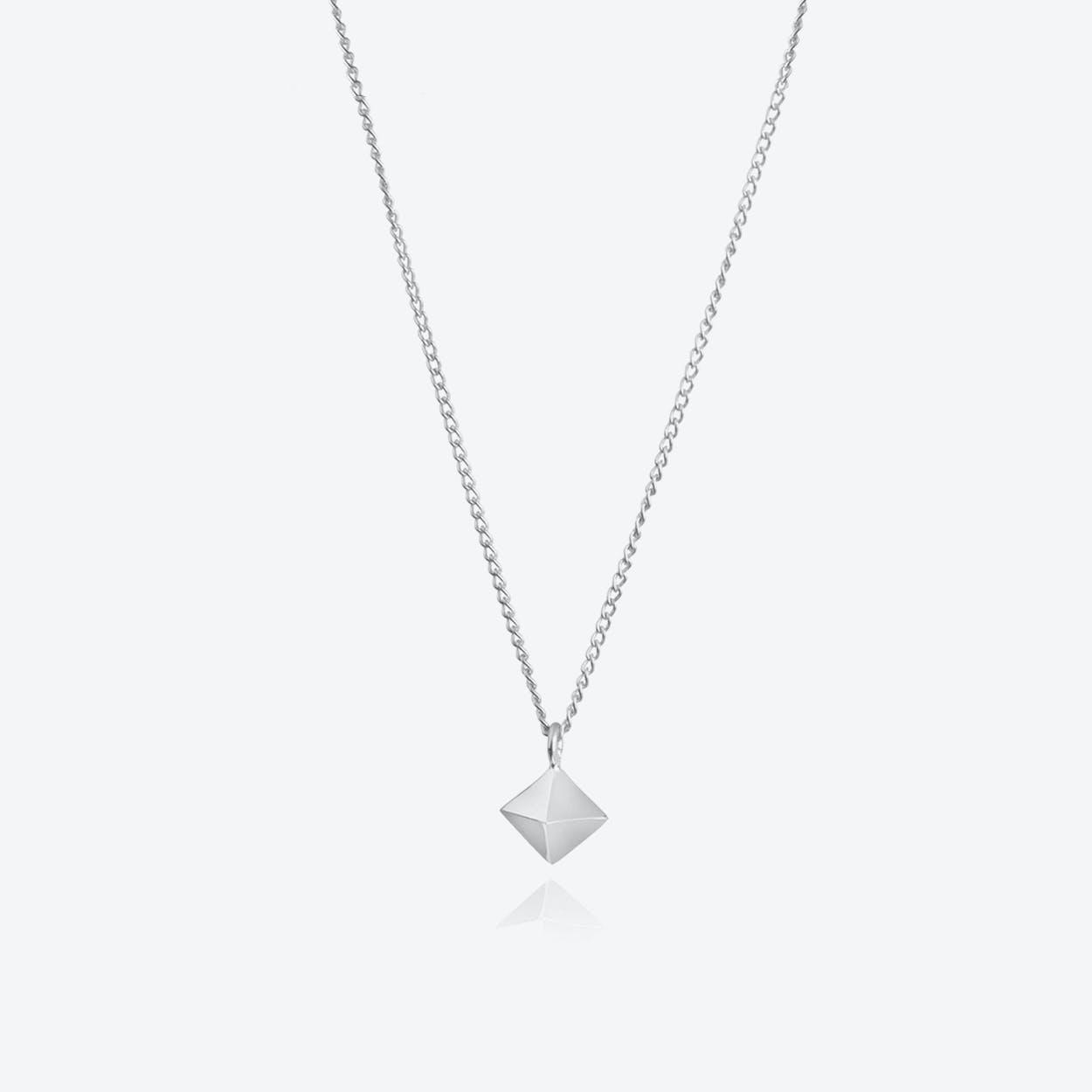 Mini Octahedron Pendant in Silver