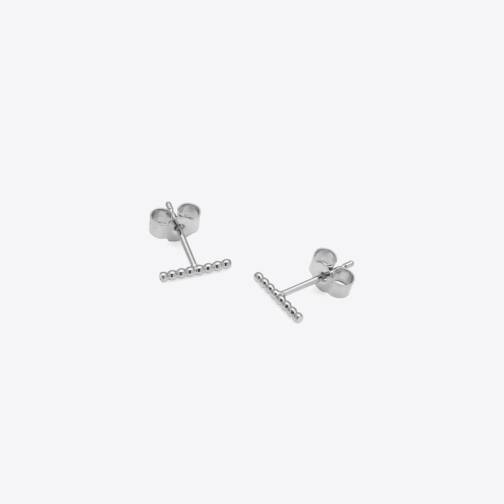 Ball Bar Stud Earrings in Silver