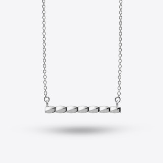 Twisted Bar Necklace In Silver
