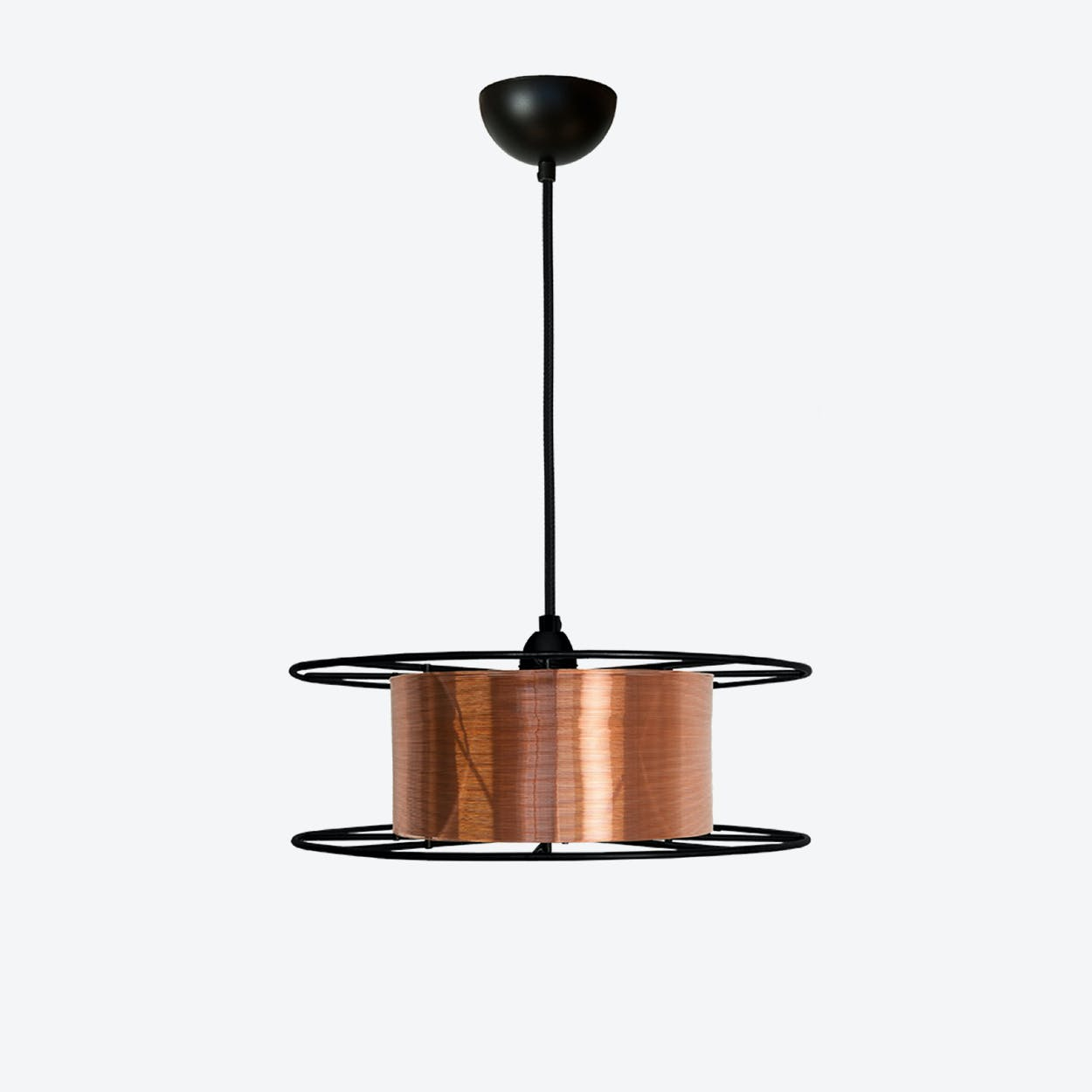 Spool Pendant Light in Black/Copper