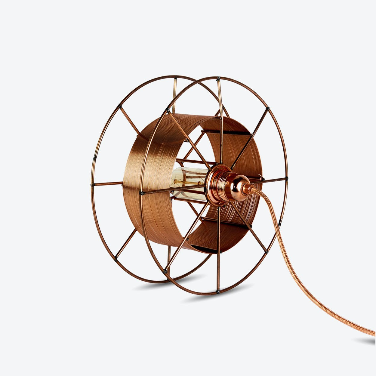 Spool Floor Lamp in Copper