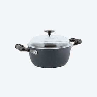 1965 Vintage Quarzo Nero Non-Stick Saucepot w/ Lid in Grey (24ø cm)
