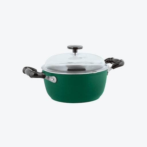 1965 Vintage Quarzo Nero Non-Stick Saucepot w/ Lid in Green (24ø cm)