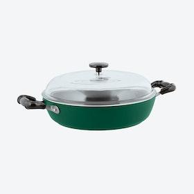 1965 Vintage Quarzo Nero Non-Stick Saute Pan w/ Lid in Green