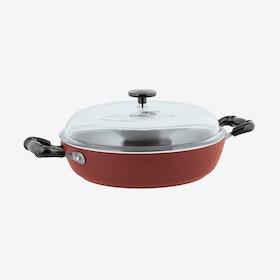 1965 Vintage Quarzo Nero Saute Pan w/ Lid in Red