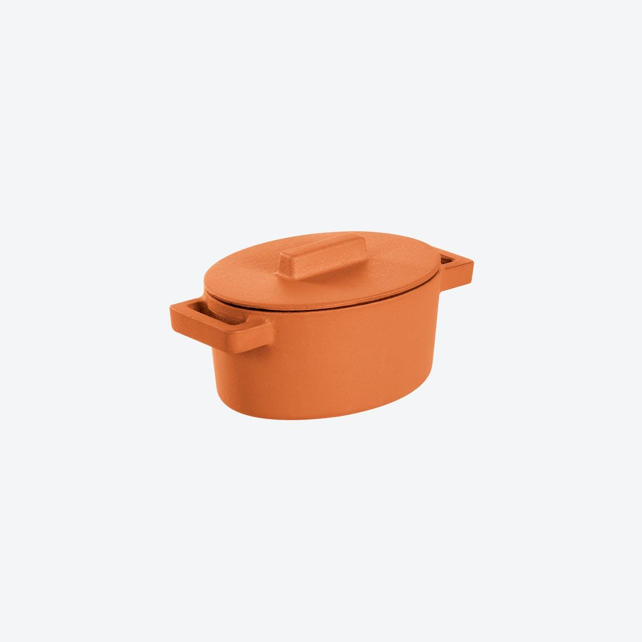 TerraCotto Cast Iron Oval Casserole Pot w/ Lid in Curry