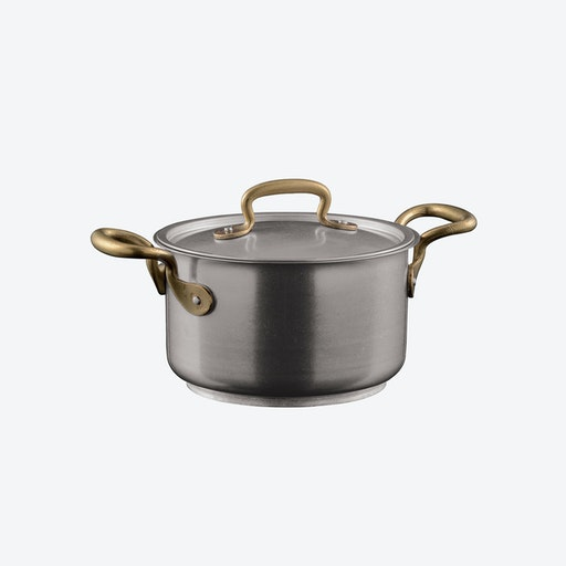 1965 Vintage Stainless Steel 2-Handled Saucepot w/ Lid (16ø cm)
