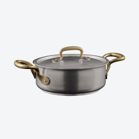 1965 Vintage Stainless Steel 2-Handled Casserole Pot w/ Lid