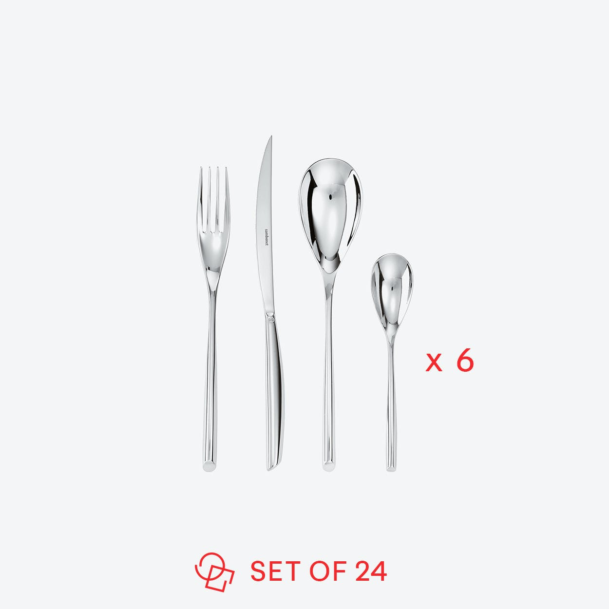 Bamboo Stainless Steel Flatware Set (24 pcs S.H.)