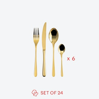 Taste Line PVD Gold Stainless Steel Flatware Set (24 pcs S.H.)