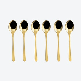Taste Line PVD Gold/Stainless Steel Coffee Spoon Set (6 pcs)