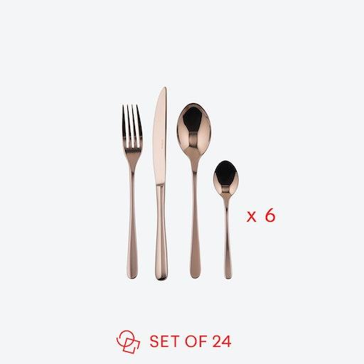 Taste Line PVD Copper/Stainless Steel Flatware Set (24 pcs S.H.)