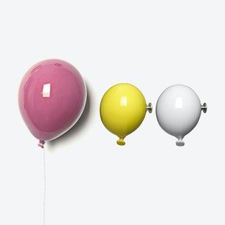 Ceramic Balloon Wall Decor in Pink, Yellow & White (set of 3)