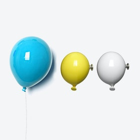 Ceramic Balloon Wall Decor in Light Blue, Yellow & White (set of 3)