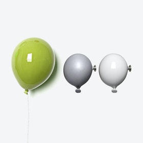 Ceramic Balloon Wall Decor in Lime Green, White & Grey (set of 3)