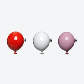 Mini Balloon Wall Hooks in Pink, Red & White (set of 3)