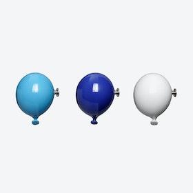 Mini Balloon Wall Hooks in Light Blue, White & Blue (set of 3)