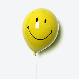 Ceramic Balloon Smile Wall Decor in Yellow